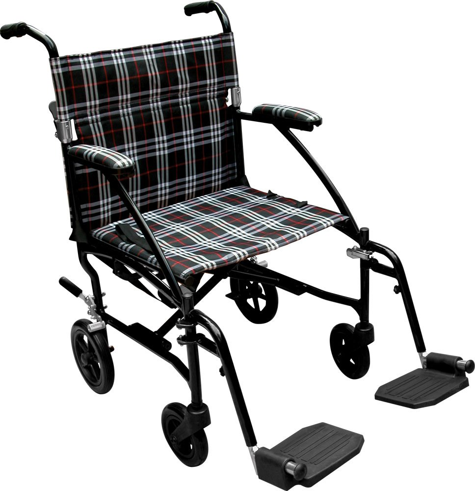 Drive Medical Fly Lite Ultra Lightweight Transport Wheelchair, Black Frame, 19'' by Drive Medical