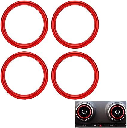 Marchfa Auto Styling Klimaanlage Belüftung Aluminiumlegierung Ring Dekoration Aufkleber Packung Mit 4 Stück Rot Auto