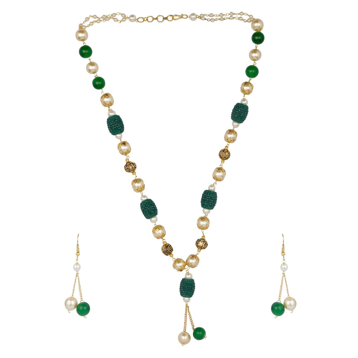 Efulgenz Indian Bollywood Boho Antique Vintage Tribal Beaded Green Pearl Strand Statement Neckalce Earrings Jewelry Set