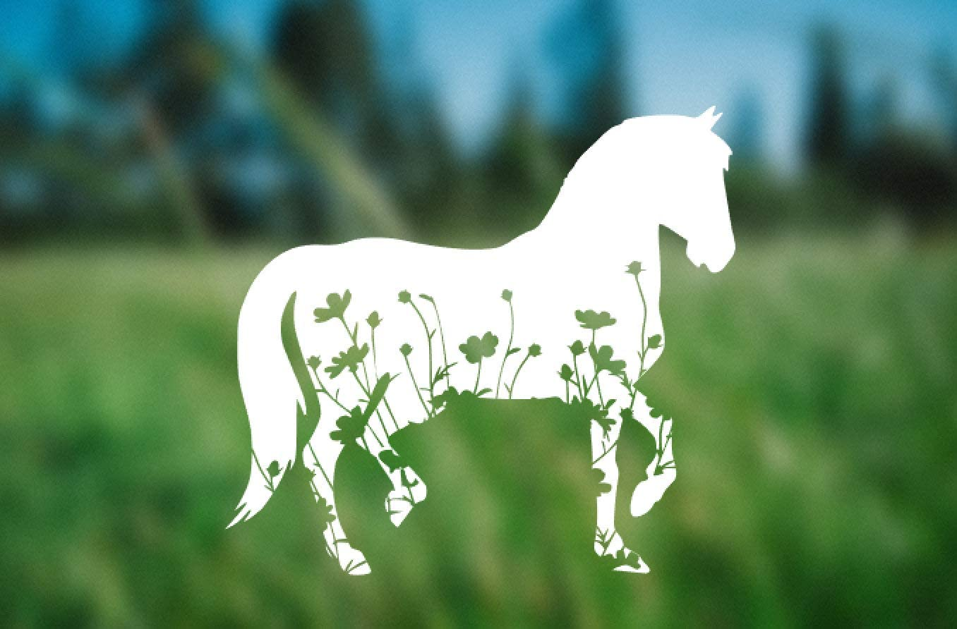 Horse with Wildflowers Decal,Car Sticker Vinyl Window Decals for Bottle Laptop Cars Wall Art Quote Funny Stickers