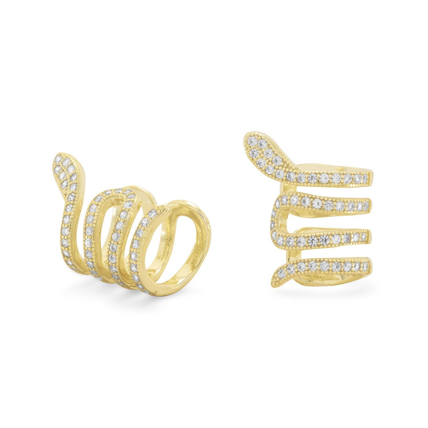Bunnyberry 14 Karat Gold Plated Snake Ear Cuffs with Signity CZs