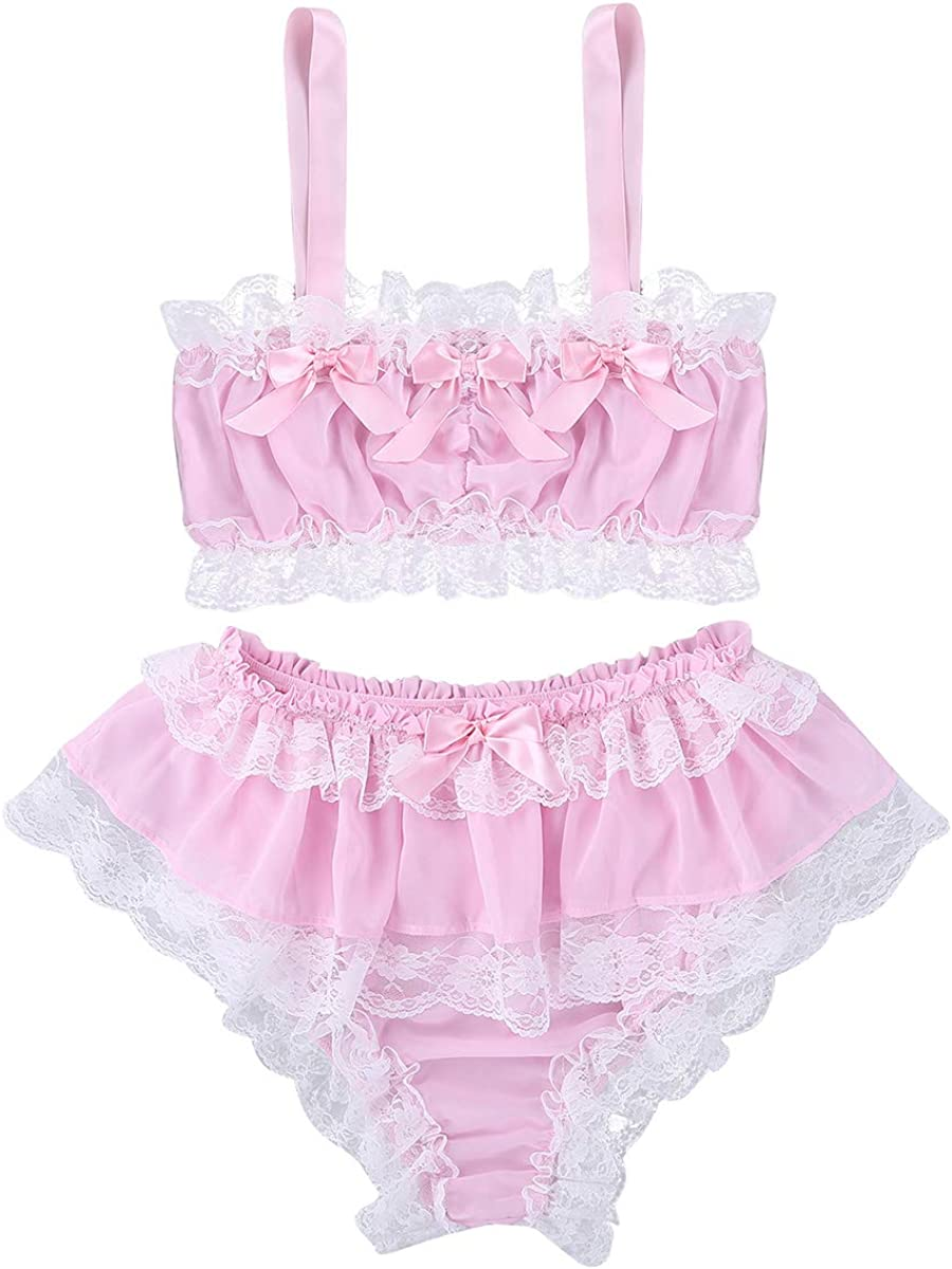 CHICTRY Mens 2 Piece Lingerie Set Chffion Frilly Lace Ruffles Costume Sissy Nightwear