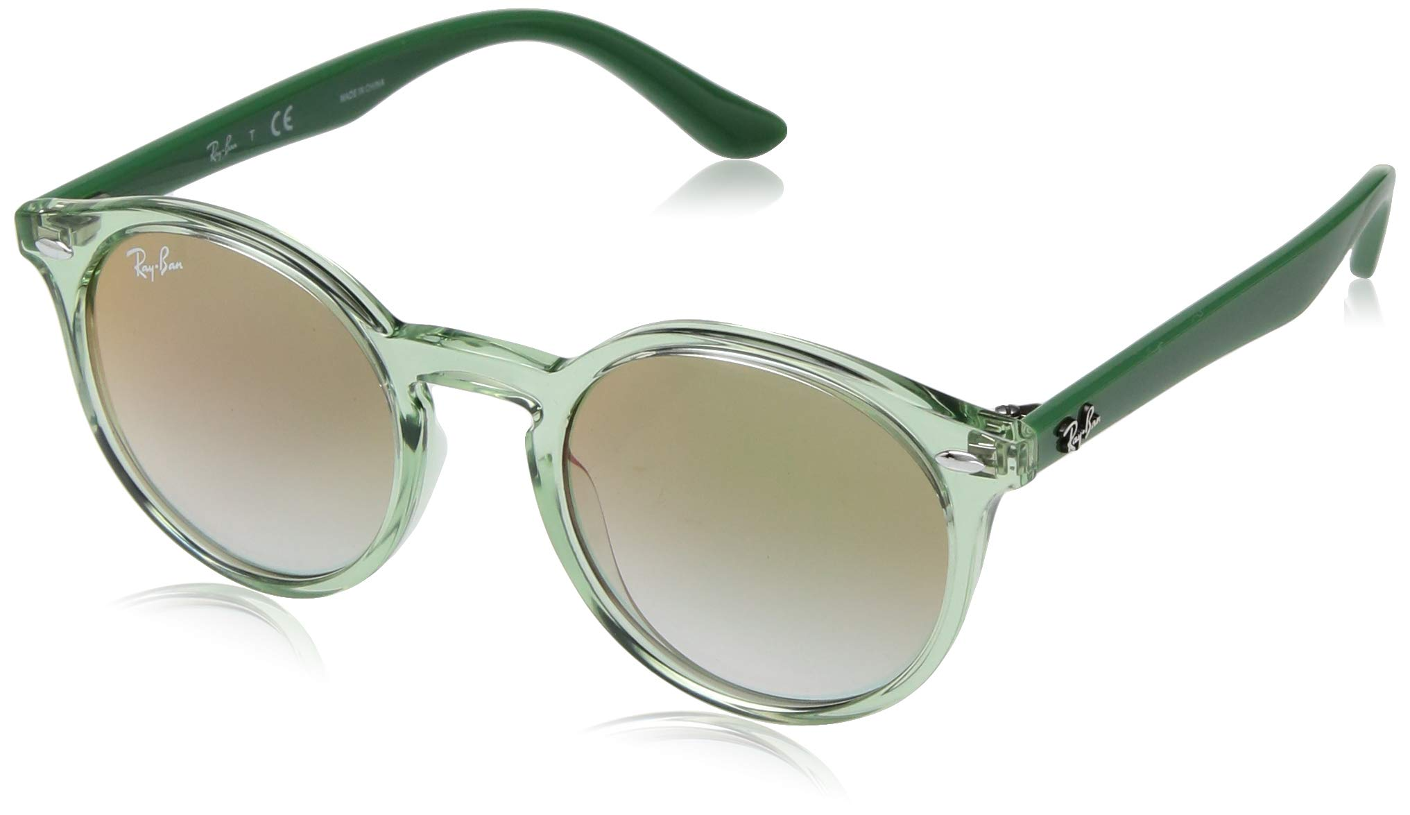 RAY-BAN JUNIOR Kids' RJ9064S Round Kids Sunglasses, Transparent Green/Green Red Gradient Mirror, 44 mm by RAY-BAN JUNIOR
