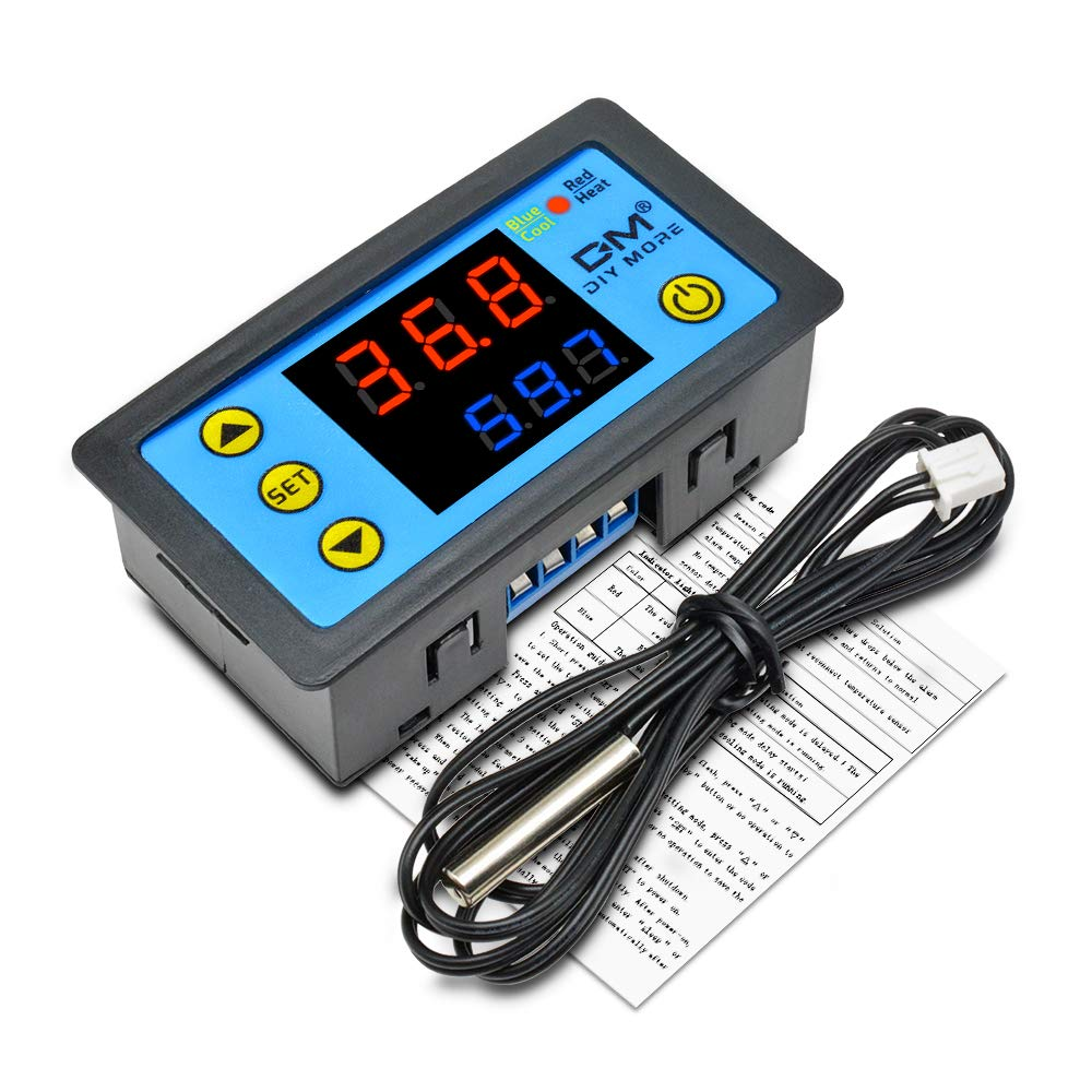 LED Digital Thermostat Heat Cool Controller Temperature Alarm Sensor Meter 12V