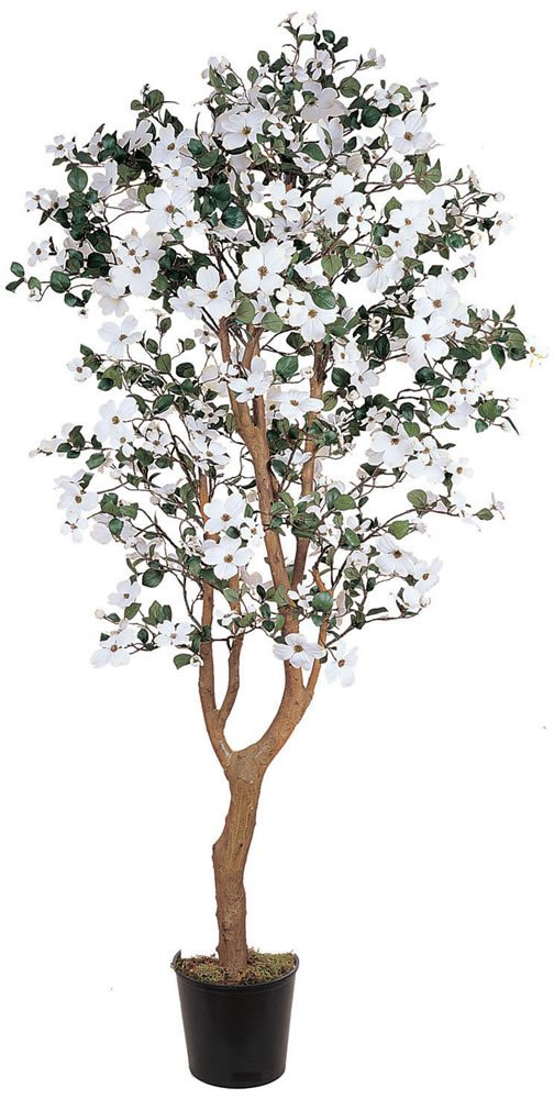 Nearly Natural 5019 Dogwood Silk Decorative Tree, 5-Feet, White