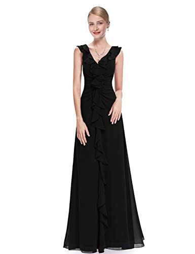 Ever Pretty V-Neck Ruffles Sleeveless Long Evening Dress 08219