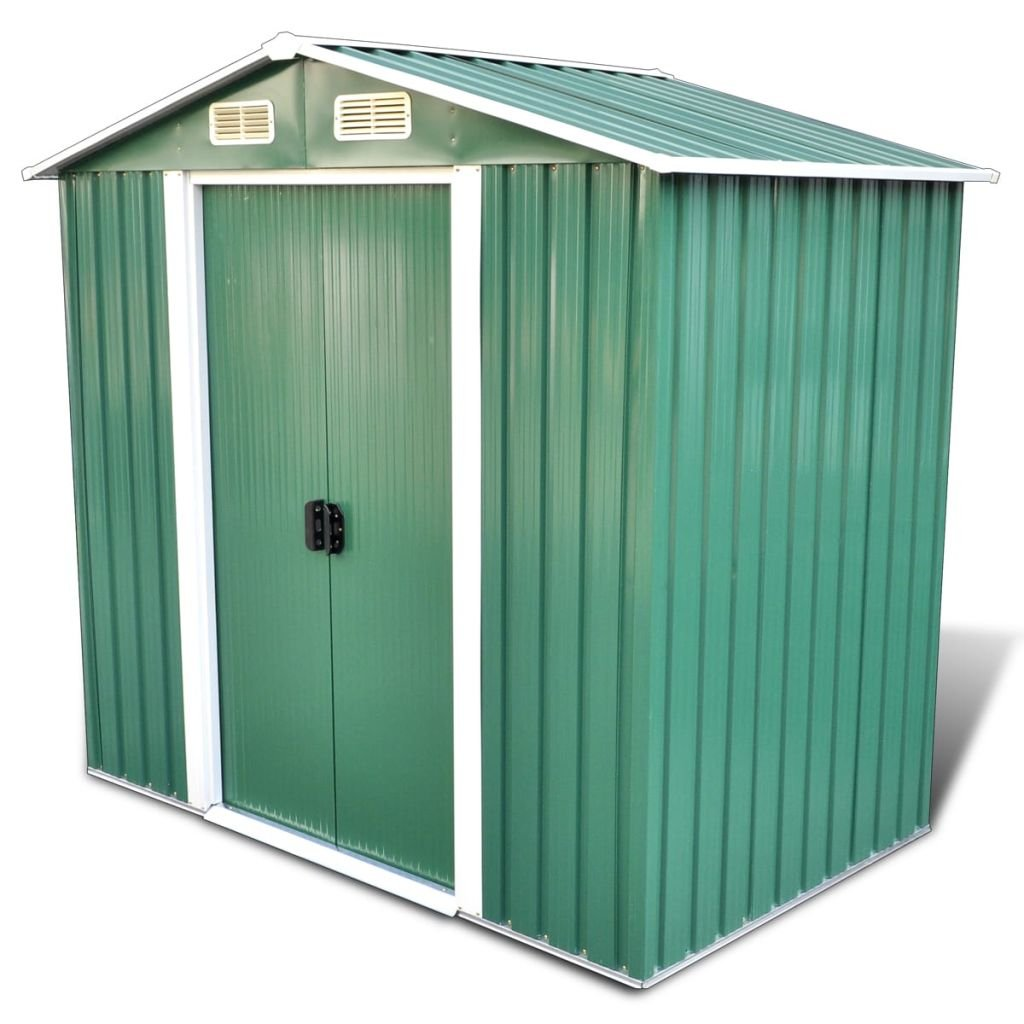 Green Apex Roof Metal Garden Shed Incl. Foundation 95.3 f3 Includes steel foundation dolly