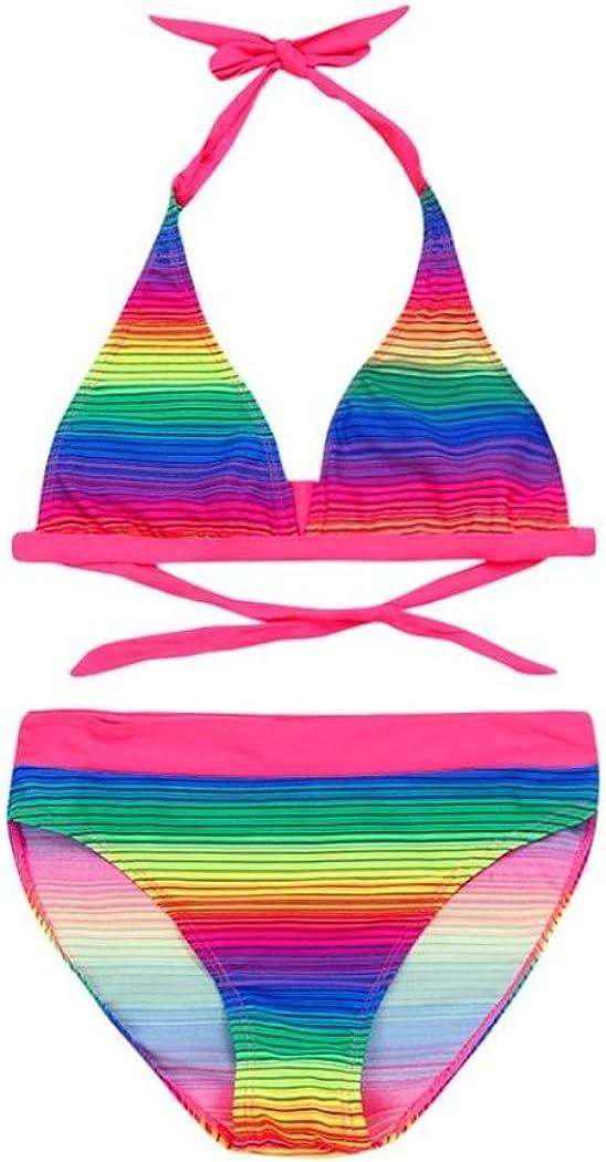 QinMM Bañador Bikini Arco Iris del Niñas Dos Piezas, Traje de Baño ...