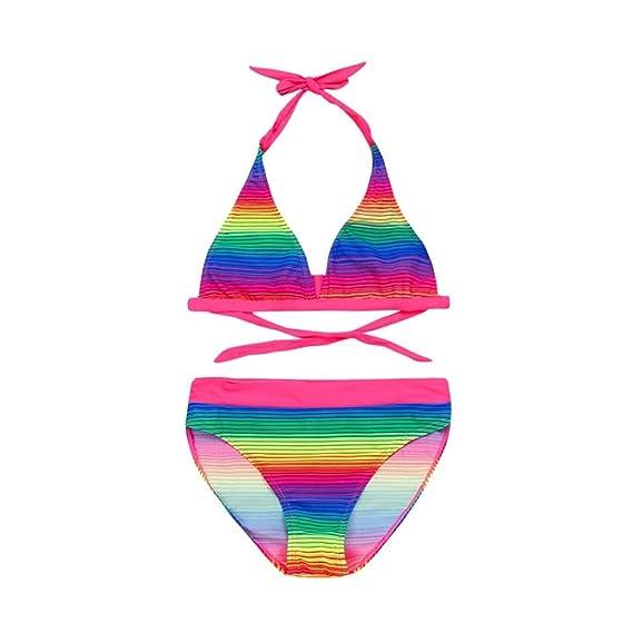 7dc5a0197f16 QinMM Bañador Bikini Arco Iris del Niñas Dos Piezas, Traje de Baño de  Verano Playa