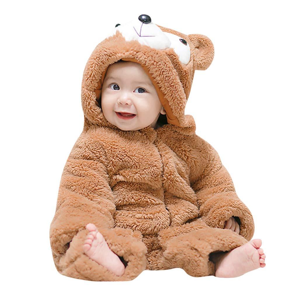 Tronet Baby Girls Boys Autumn Winter Cartoon Hooded Romper Jumpsuit Newborn Keep Warm Clothes (80(Age:6-9Months), Khaki)
