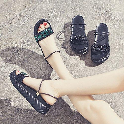 SOHOEOS Sandalias para Mujer Señoras Verano nuevo señoras moda casual cuña alta Mule Open toe damas sandalias romanas Green