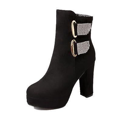 Women's Flock Low top Solid Zipper High-Heels Boots