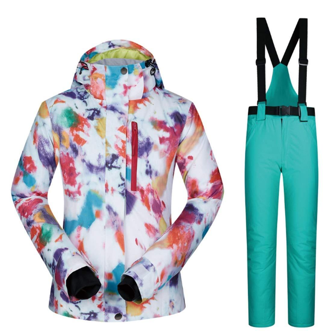 8 XIAMEND Winter Women's Snowsuit Windproof & Waterproof Ski Jacket and Pants Set (color   07, Size   M)