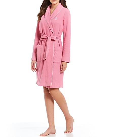 cbfa04296c038f Image Unavailable. Image not available for. Color  Lauren by Ralph Lauren  Women s Textured Wrap Robe Rose
