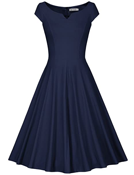 3adcdfab72b5 MUXXN Women's V Neck Tea Length Sheath Slim Fit and Flare Dress (Blue ...