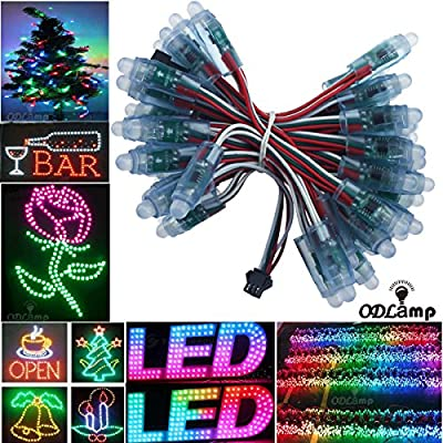 Odlamp 50pcs 500pcs DC5V DC12V WS2811 Dream Color Changing RGB Addressable LED Pixel String light Waterproof 12mm For Christmas Party Advertising Board Decoration