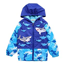 Baby Boys 1-6Y Shark and Skull Hooded Jacket Waterproof Lightweight Raincoat Outerwear