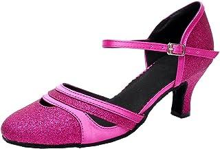AQQ-7012 Womens Latin Tango Ballroom Party wedding 2.7 Inch Heel PU Dance-shoes Pink 42 EU(2IN)