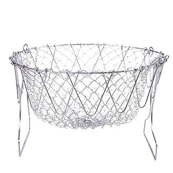 CGBOOM Cesta de Freidora Chef Basket Colador Cesta de Cocinero Plegable Acero Inoxidable Herramienta de Cocina con Mango para Alimentos Fritos o Frutas: ...