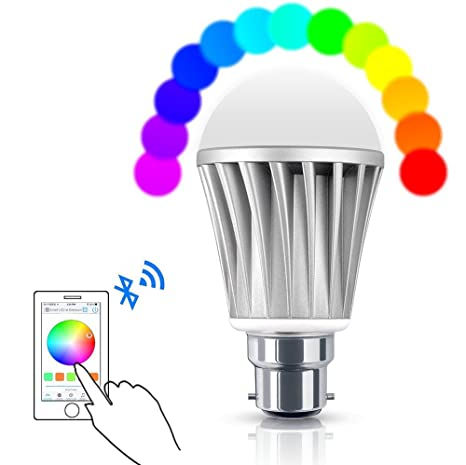 Smart Bluetooth Bombilla LED, 20 integrado modelos RGB Control remoto por Smartphone intensidad regulable multicolor