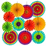 Super Z Outlet Fiesta Bright Colorful Paper Fans Round Wheel Disc Southwestern Pattern Design Rosettes for Party, Event, Home Decoration (Set of 12)