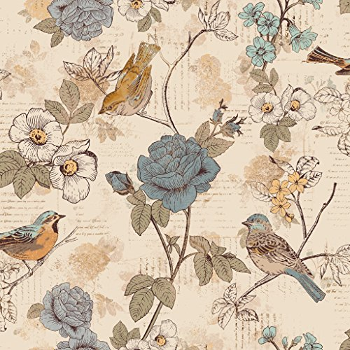 Stitch & Sparkle Fabrics, Aviary, Words Bird Beige Cotton Fabrics, Quilt, Crafts, Sewing, Cut by The Yard, -