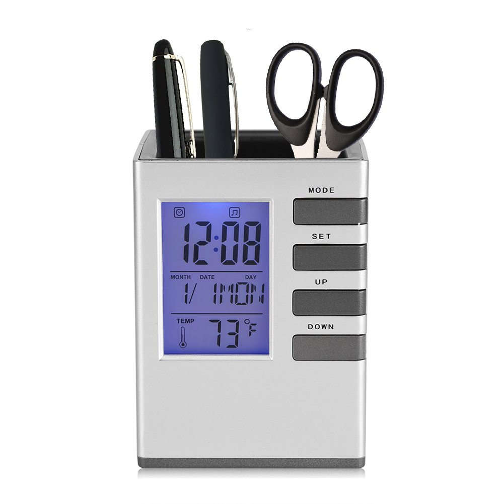 Multifunctional LED Desk Clock, Digital LCD Screen Alarm Clock Pen Holder Temperature Display for Home Office Fdit