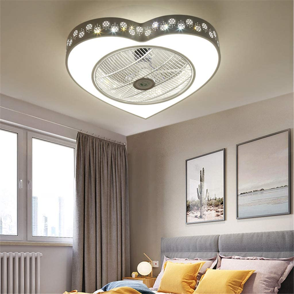 JINWELL LED Ventilatore da soffitto Fan con illuminazione e telecomando silenzioso ventilatore a soffitto LED Plafoniera Camera da letto Soggiorno Illuminazione vivaio Decorativo,A