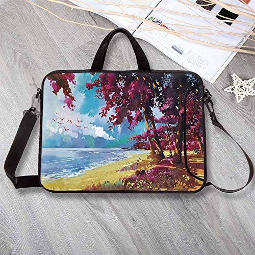 """Apartment Decor Wear-Resisting Neoprene Laptop Bag,Floral Colored Blossom Trees on The Tropic Sandy Gold Beach Seascape Summer Print Laptop Bag for Laptop Tablet PC,14.6""""L x 10.6""""W x 0.8""""H"""