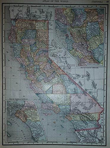 Map of California 1901 Original Collectible Antique Vintage 1903 Atlas Page with 1900 Census 1,485,053 ()