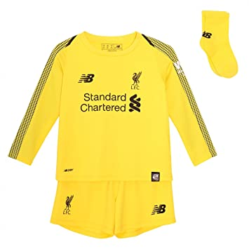 37f444b77 New Balance Liverpool FC Collection 2018 2019 Home Kit Yellow Polyester  Soccer Infant Goalkeeper Kit
