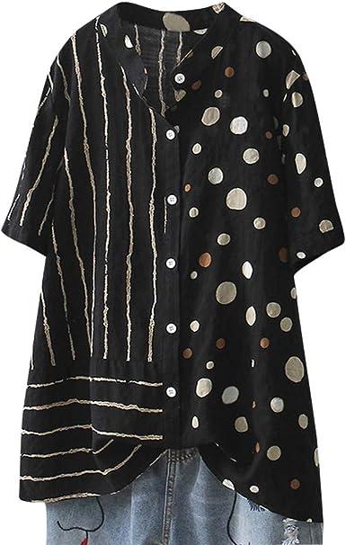 TUDUZ Blusas Mujer Manga Corta Verano Lino Camisas Suelto Camisetas Talla Grande: Amazon.es: Ropa y accesorios