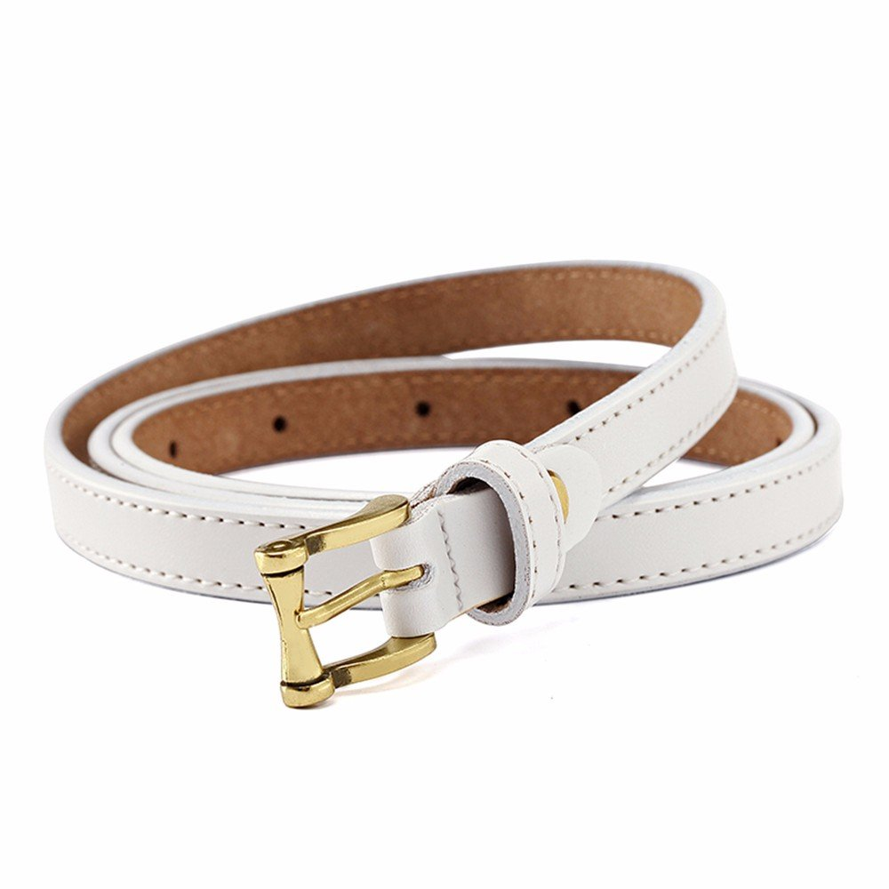 SAIBANGZI Ms Women All Seasons Belt Fine Decorative Dress Casual Leather Belt Fashion Knotting Girlfriend Present White 82-98Cm