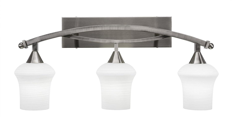 Toltec Lighting Bow 3 Light Bath Bar with 5.5 Zilo White Linen Glass