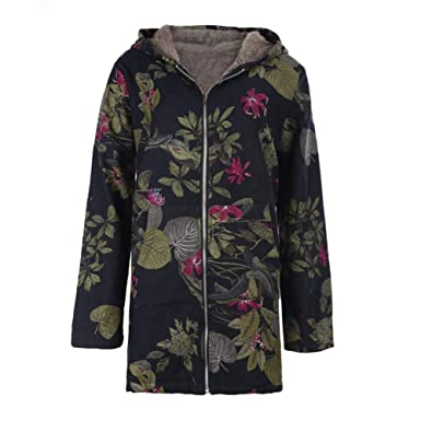 ed4612ca9c8 Childplaymate Women Warm Floral Print Hooded Jackets Zipper Windproof Winter  Coat (S)