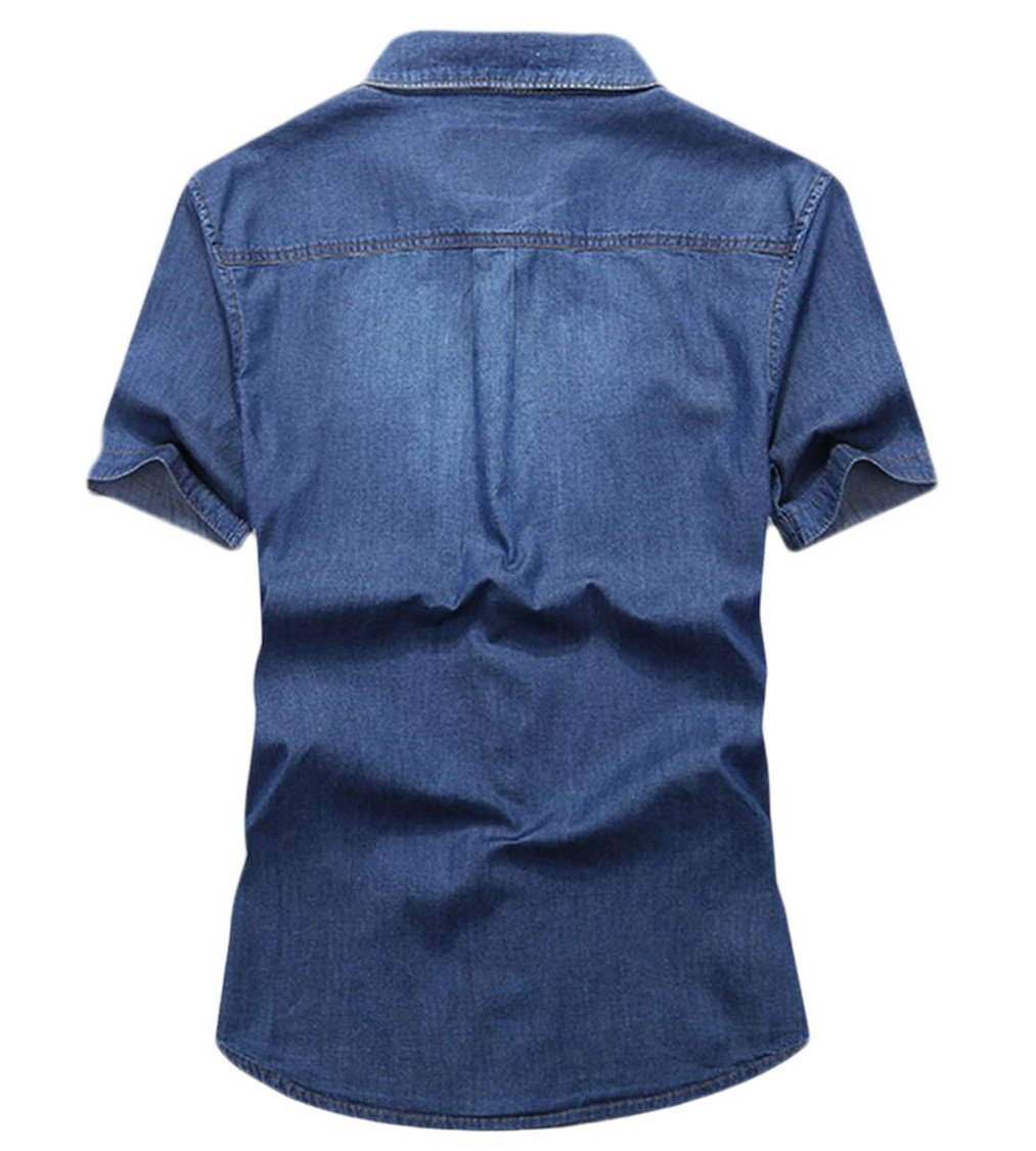 3e61e6d7403 Alion Men Summer Pockets Short Sleeve Thin Button Over Size Denim Shirt at  Amazon Men s Clothing store