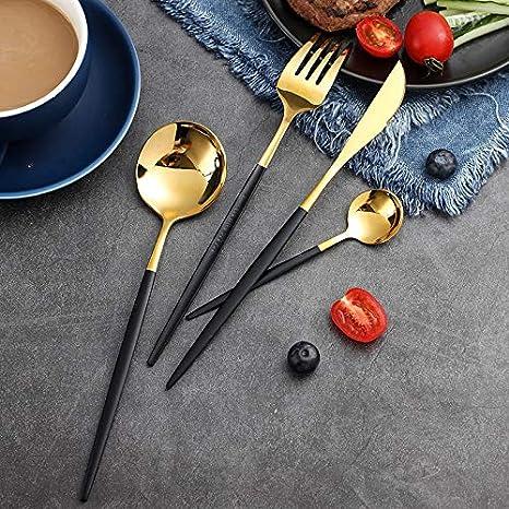 Juego de vajilla de acero inoxidable dorado de 4piezas incluido Cuchillo de carne Tenedor Cuchara de sopa y Cuchara de postre Cubiertos de lujo con revestimiento de titanio para restaurante dom/éstico