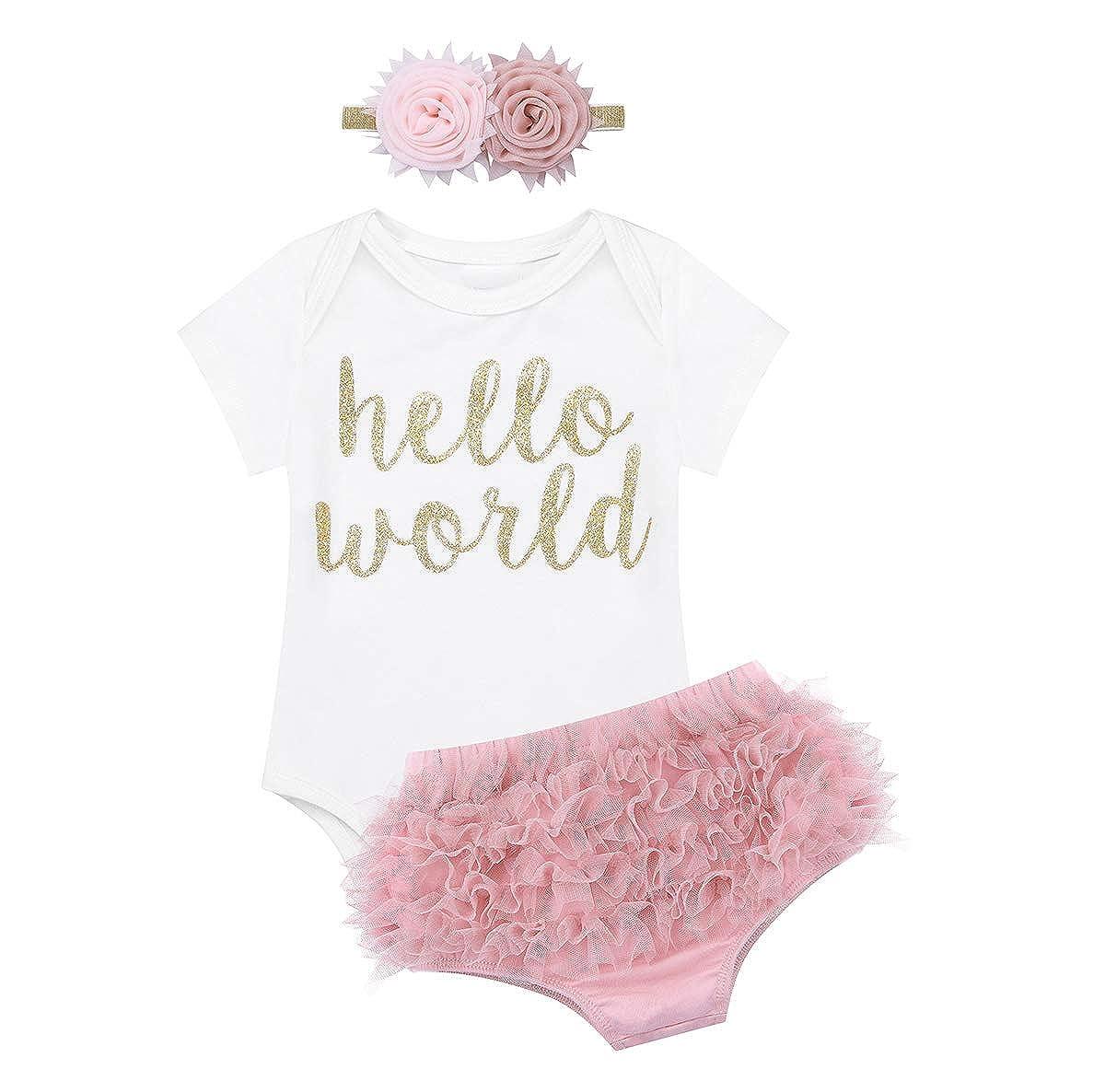 YiZYiF 3PCS Newborn Baby Girl's Hello World Birthday Flower Ruffles Bodysuits Coming Home Outfit Set