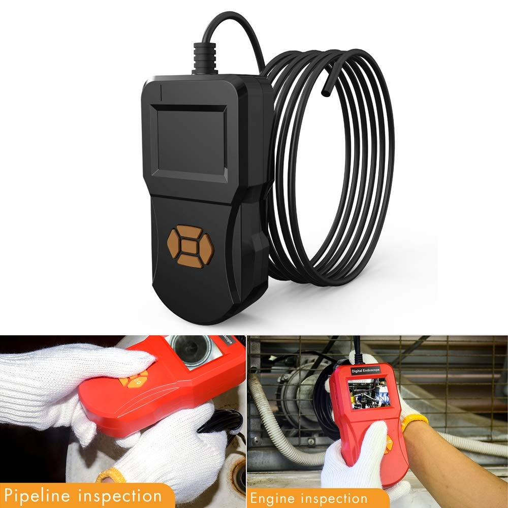 QGT inskam127 IP67 HD Digital 2.4 inch Display Screen Handheld Endoscope Industrial Home Endoscopes, Lens Size: 8mm, Hard Cable Length: 3m (Black) (Color : Black)