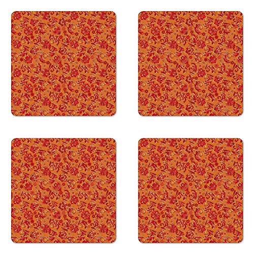 Lunarable Batik Coaster Set of Four, Nostalgic Western European Medieval Renaissance Inspired Eastern Bohemian Pattern, Square Hardboard Gloss Coasters for Drinks, Red Orange
