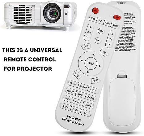 ASHATA Mando a Distancia para Proyector,Control Remoto Universal Port/átil Duradero de Projector Blanco