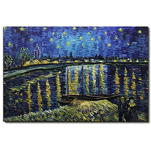 Starry Night Framed - Amei Art - Hand Paintings Starry Night Over the Rhone by Van Gogh Famous Oil Paintings Modern Framed Artwork Seascape Pictures on Canvas Wall Art for Home Office Decorations 2436 inch