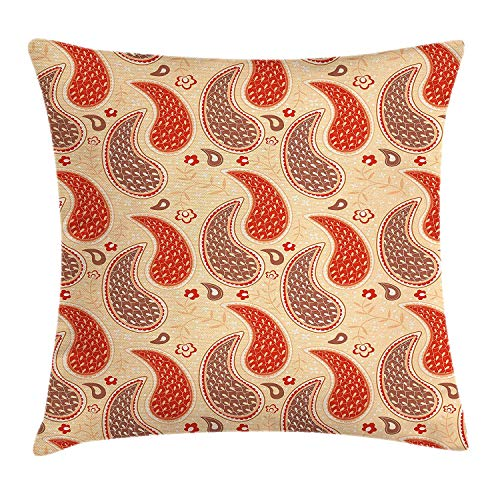WCMBY Paisley Throw Pillow Cushion Cover, Ornamental Eastern Culture Elements Abstract with Floral Background, Decorative Square Accent Pillow Case, 18 X 18 inches, Peach Vermilion Brown ()
