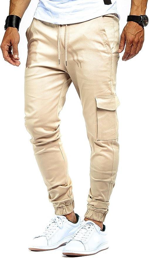 Stylische Slim Fit Herren Chino Hose Sweatpant Jogger Jeans Top Optik Skinny