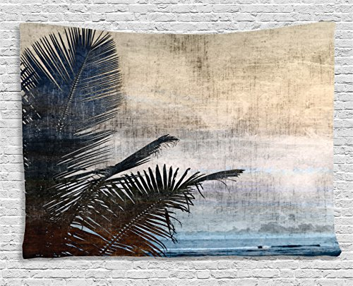 Ambesonne Hawaiian Decorations Collection, Palm Tree Leaves on Grunge Background with Sea Vintage Waterscape Illustration, Bedroom Living Room Dorm Wall Hanging Tapestry, 60 W X 40 L Inch, Beige Navy (Sister Tapestry)