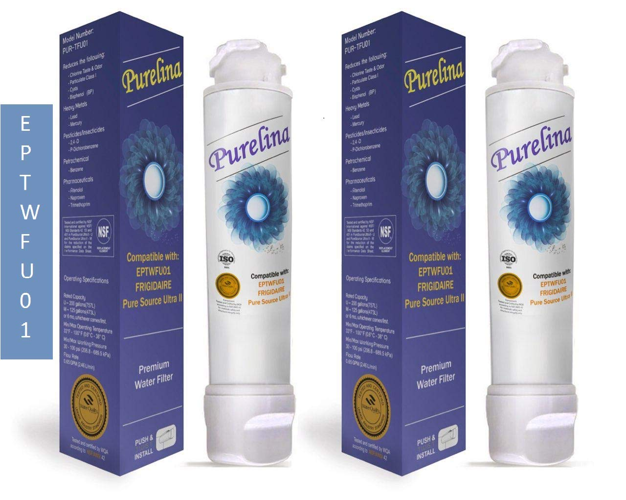 Purelina EPT-WFU-01 Best Refrigerator Water Filter Compatible with Puresource Ultra II - 2 Pack