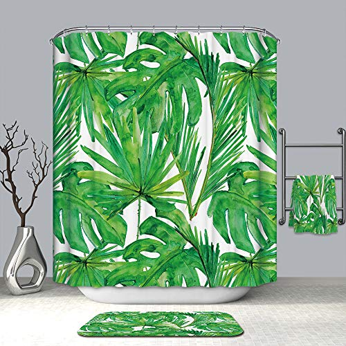 Jessie storee Turtle Leaf Shower Curtain Waterproof with 12 Hooks 3D Printed Bathroom Colorful Fabric Mildew Resistant Polyester Anti-Bacterial 72 x 59 inch Non Toxic Eco-Friendly