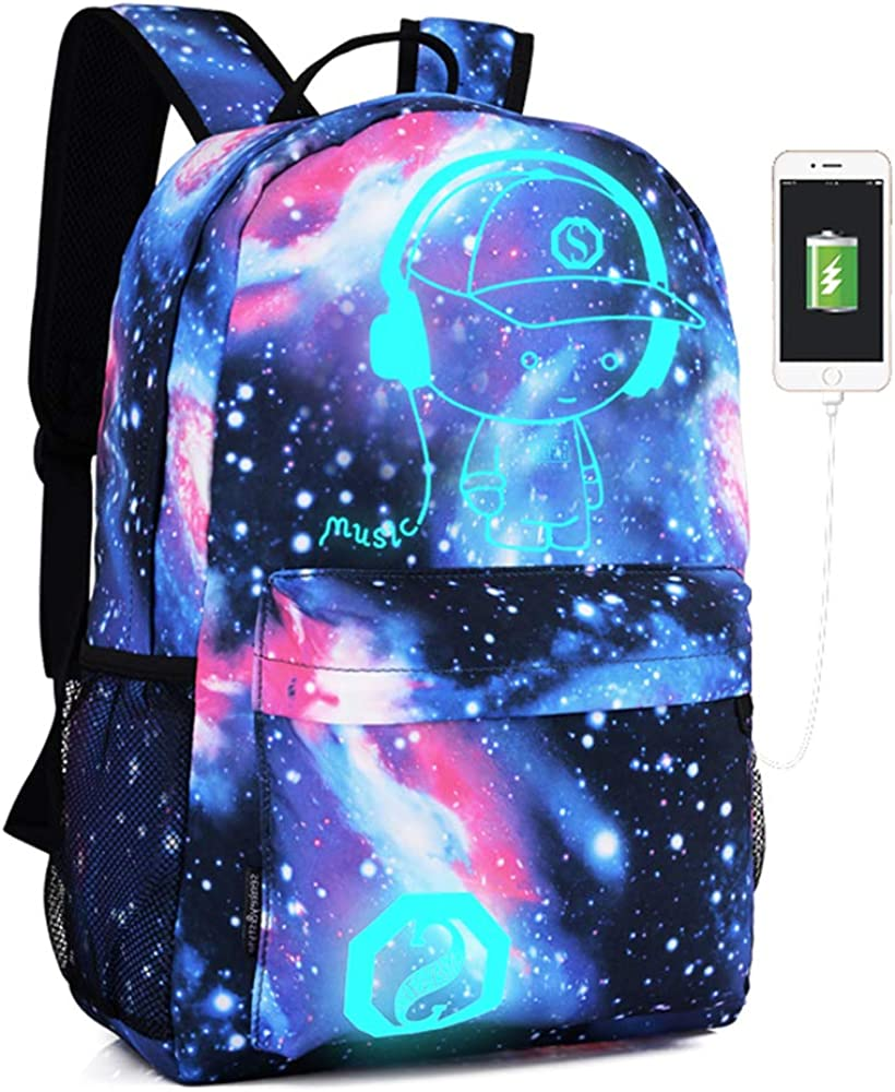 Lmeison Anime Cartoon Luminous Backpack with USB Charging Port and Lock &Pencil Case Daypack Shoulder Rucksack Laptop Bag