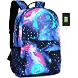 Grey Santa Claus Christmas Matata Moon Silhouette Backpack Daypack Rucksack Laptop Shoulder Bag with USB Charging Port