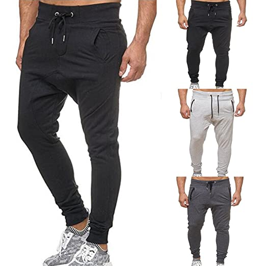 058db33b372 Men Pants Daoroka Men s Casual Plus Size Long Tether Elastic Solid Jogger  Slacks Athletic Running Trousers
